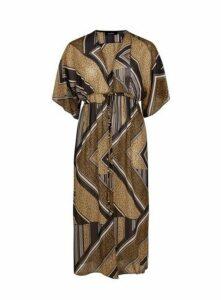 Brown Animal Print Kimono, Dark Multi