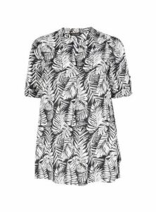 Black Leaf Print Tunic, Black/White