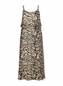 Black Zebra Print Overlay Dress, Beige/Natural