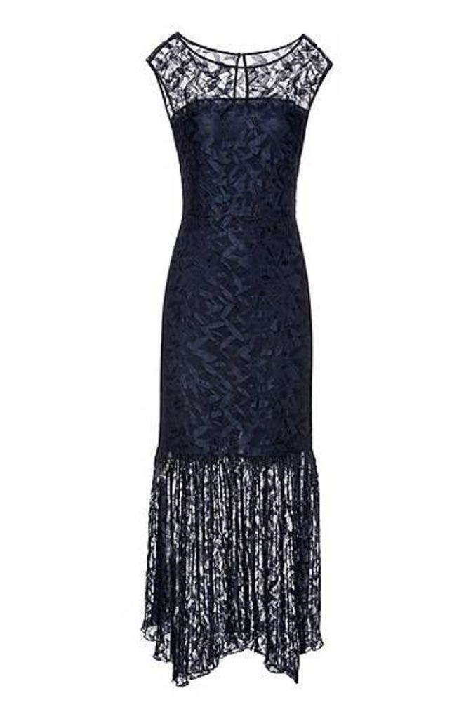 Lace maxi dress with plissé skirt detail