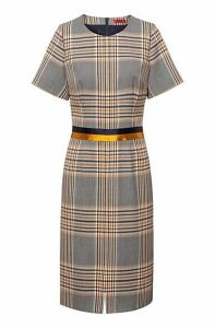 Short-sleeved checked dress with two-tone waistband