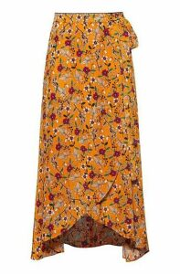 Floral-print midi wrap skirt with tie belt