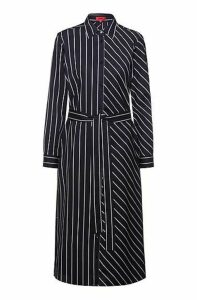 Shirt dress in striped cotton with roll-up sleeves