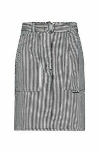 Belted pencil skirt in striped denim with oversized pockets