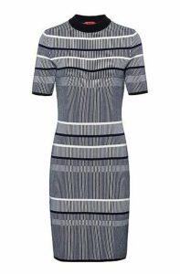 Slim-fit knitted dress in striped super-stretch fabric