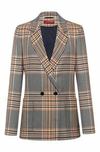Regular-fit double-breasted jacket in Glen-check fabric