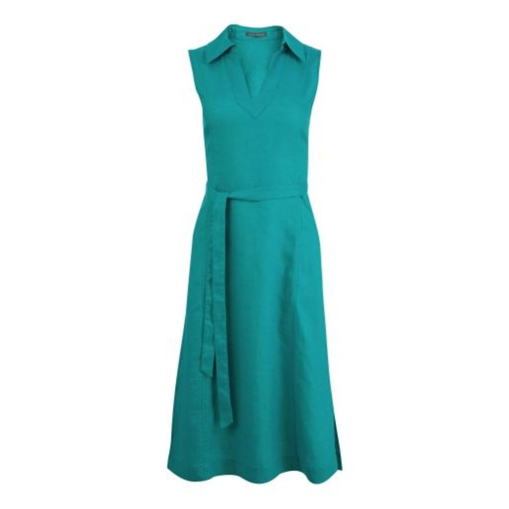 Jade Fit and Flare Linen Dress