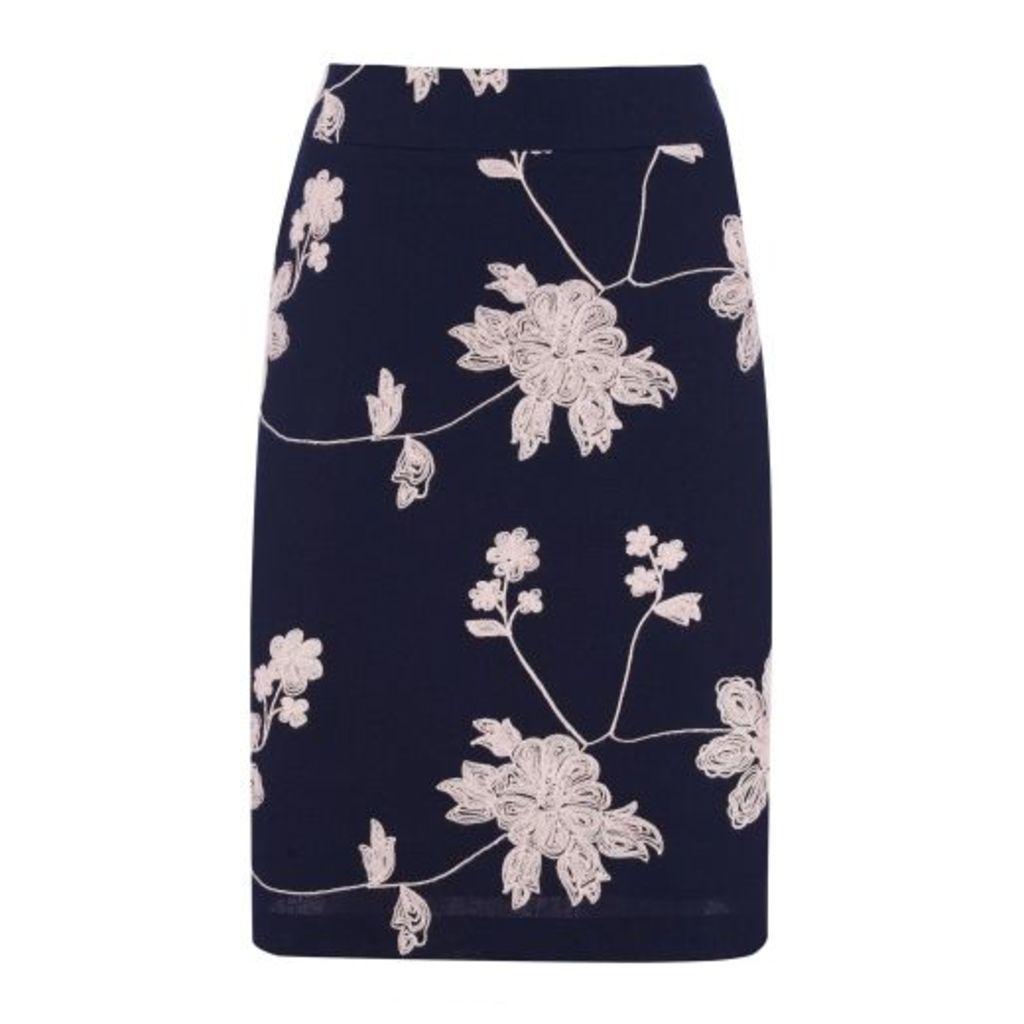Embroidered Linen ALine Skirt