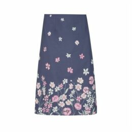 Blue Floral Placement  ALine Midi Skirt