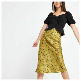 Womens Petite Yellow floral bias cut midi skirt