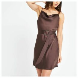 Womens Petite Brown cowl neck belted slip dress