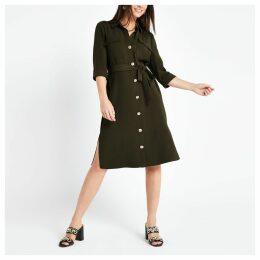 Womens Petite Khaki utility shirt dress