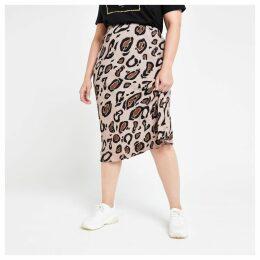 Womens Plus Brown leopard print bias cut midi skirt