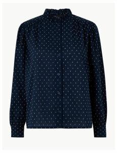 M&S Collection PETITE Cotton Rich Textured Blouse