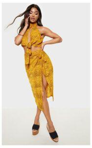 Mustard Snake Print Tie Side Midi Skirt, Mustard