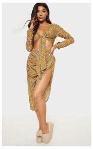 Mustard Satin Leopard Print Ruched Side Midi Skirt, Mustard