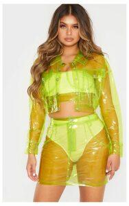 Lime Transparent Crop Jacket, Green