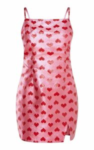 Pink Metallic Love Heart Bodycon Dress, Pink
