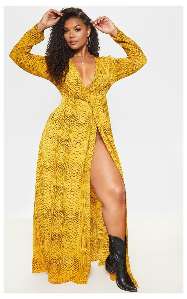 Plus Yellow Snake Twist Detail Maxi Dress, Yellow