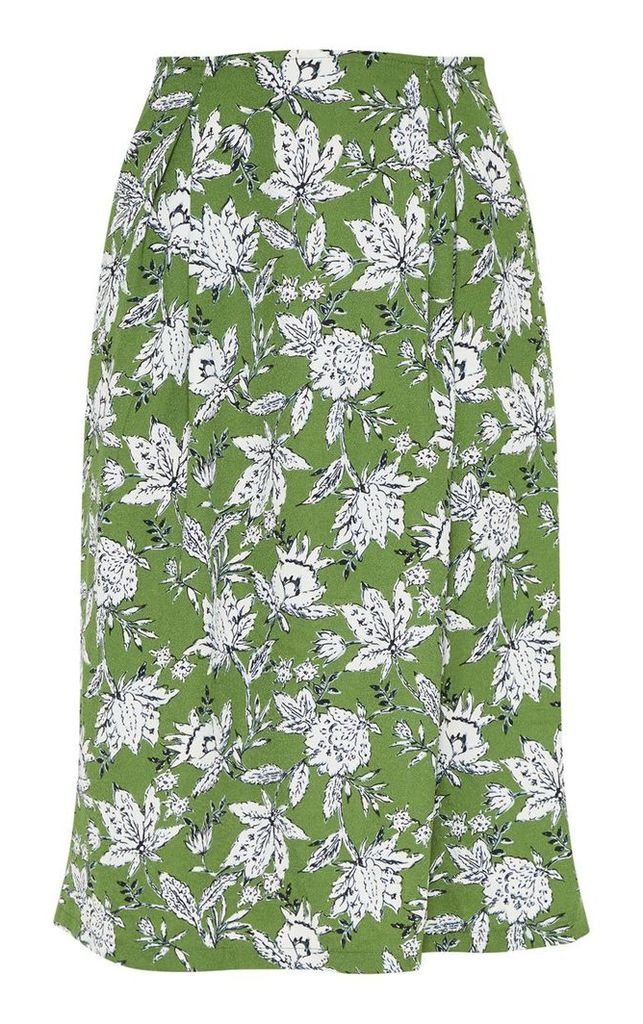 Green Floral Printed Pleat Front Midi Skirt, Green