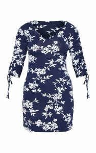 Navy Floral Print Ruched Sleeve V Neck Shift Dress, Blue