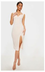Nude Strappy Sweetheart Neckline Midi Dress, Pink