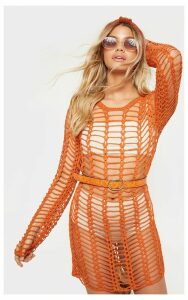 Rust Crochet Ladder Detail Long Sleeve Dress, Orange