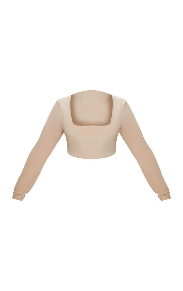 Plus Stone Second Skin Square Neck Long Sleeve Crop Top, White