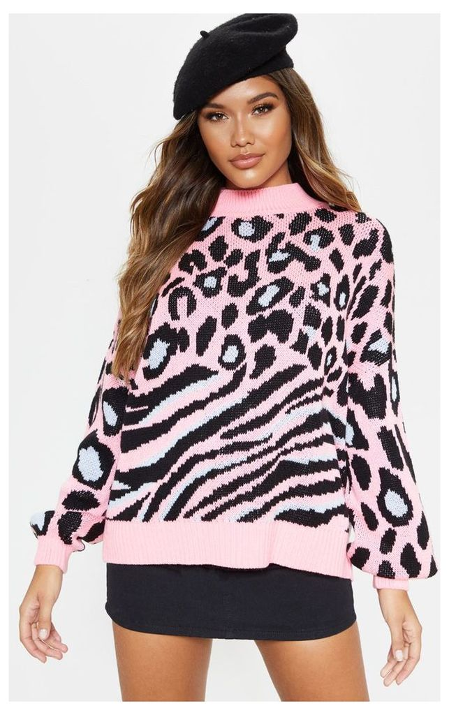 Pink Mixed Animal Print Knitted Jumper, Pink