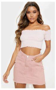 Pastel Pink Short Sleeve Frill Edge Bardot Top, Pastel Pink