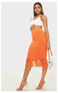 Orange Tassel Hem Midi Knitted Skirt, Orange
