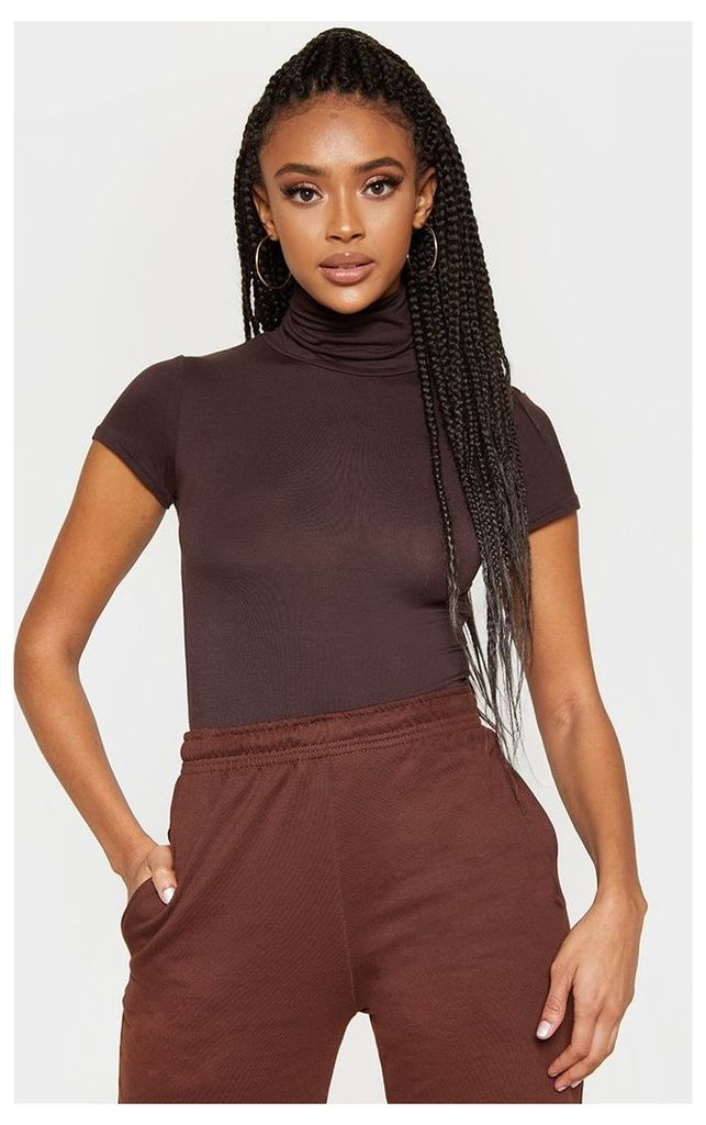 Chocolate Roll Neck Short Sleeve Bodysuit, Chocolate