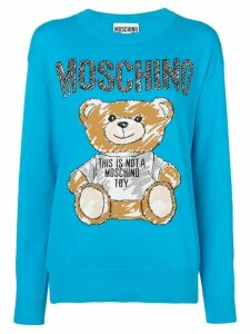 Moschino teddy bear intarsia jumper - Blue