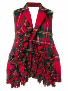 Comme Des Garçons Pre-Owned 2000's tartan open back top - Red