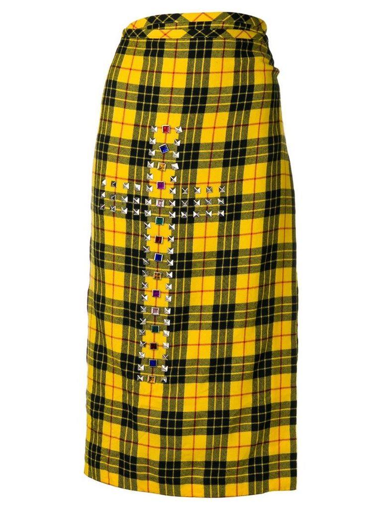 Comme Des Garçons Vintage 2000's plaid envelope skirt - Yellow