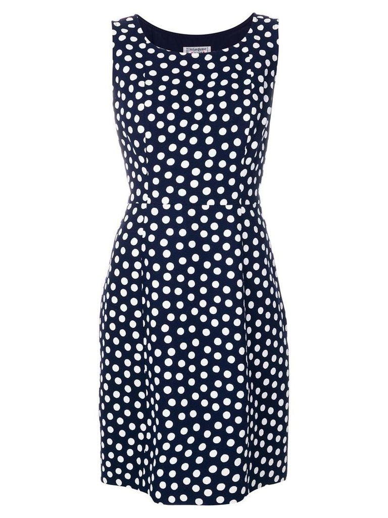 Yves Saint Laurent Vintage polka dot-print sleeveless dress - Blue