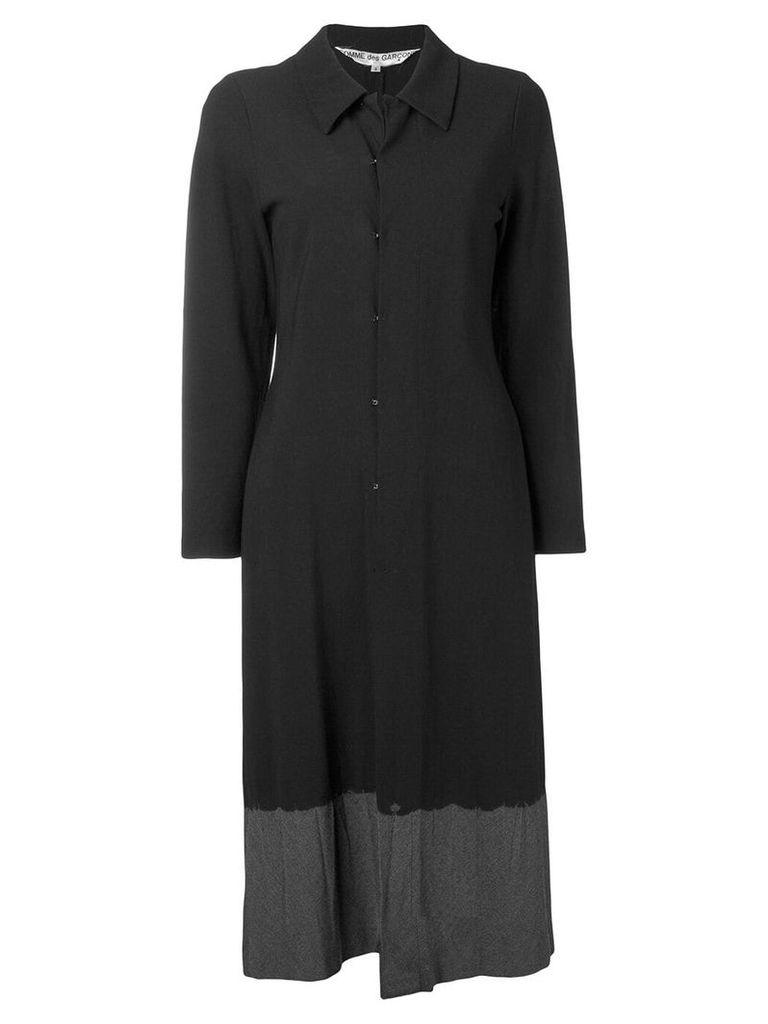 Comme Des Garçons Vintage 1993's contrast hem long coat - Black