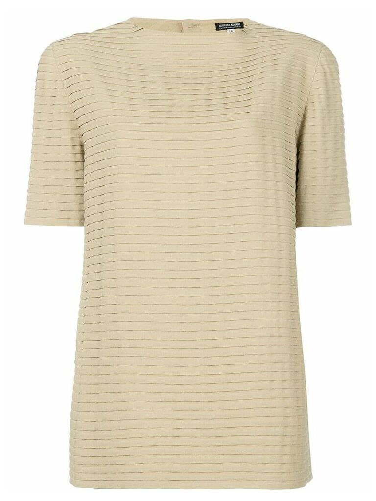 Giorgio Armani Vintage pleated shortsleeved blouse - Neutrals
