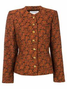 Yves Saint Laurent Pre-Owned puff sleeve jacquard jacket - Orange