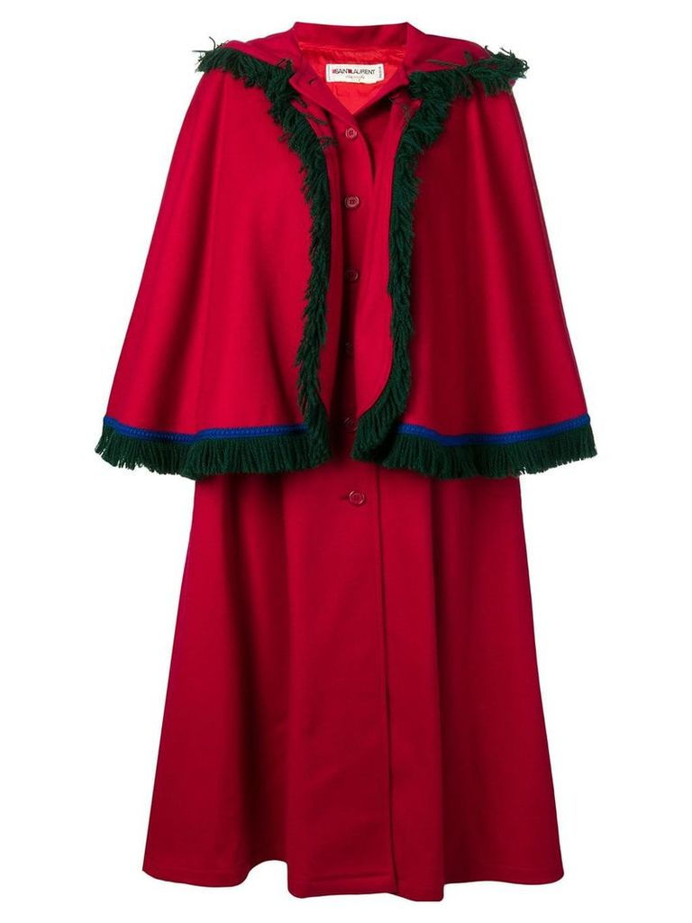 Yves Saint Laurent Vintage 1980's cape coat - Red
