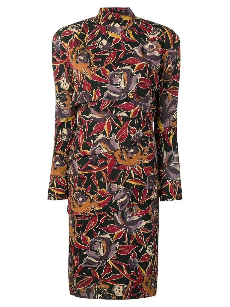 Versace Vintage 1980s floral print asymmetric panel dress - Black