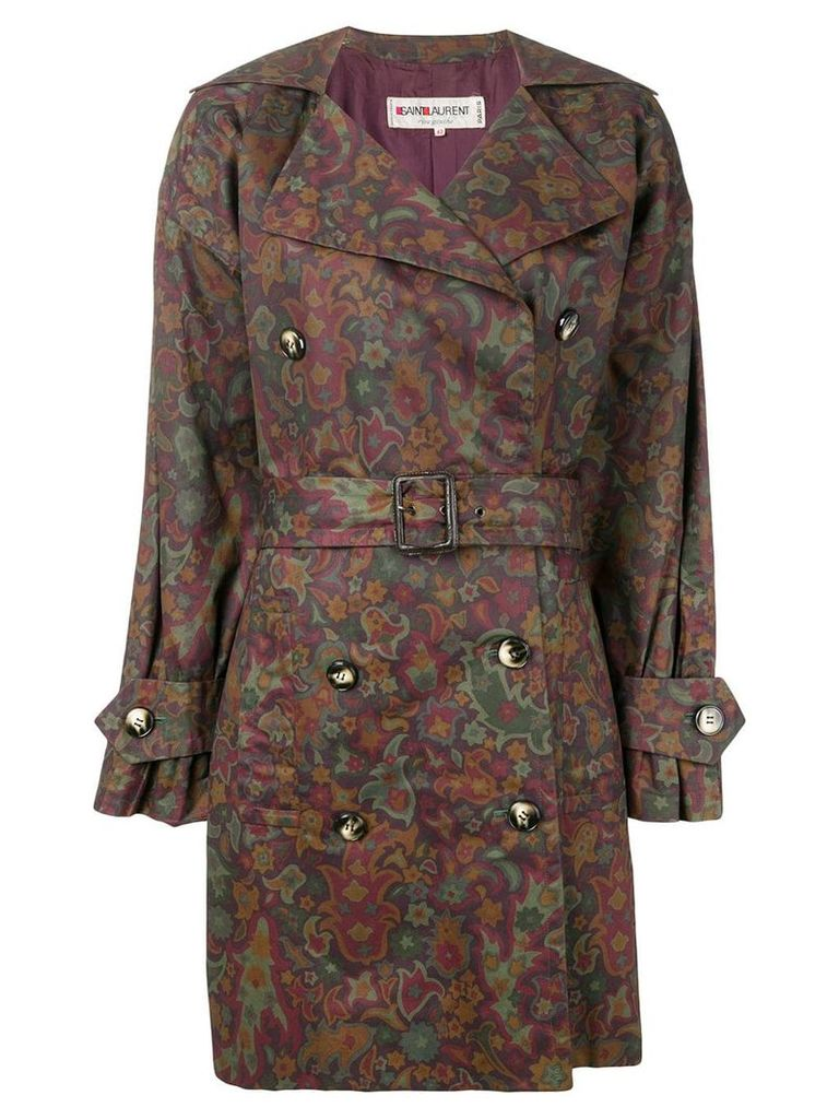 Yves Saint Laurent Pre-Owned floral print trench coat - Red