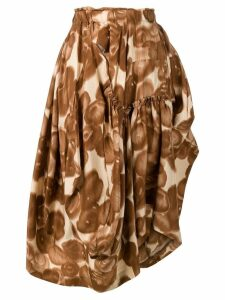 Comme Des Garçons Pre-Owned abstract print asymmetric skirt - Brown