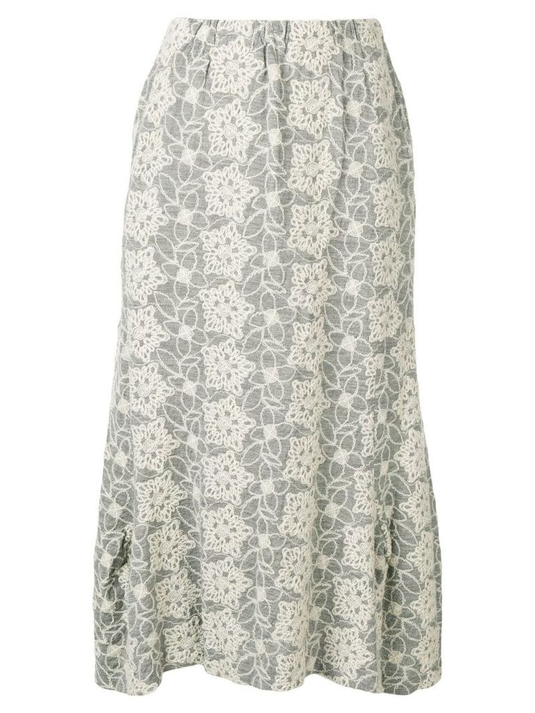 Comme Des Garçons Pre-Owned 1999's embroidered midi skirt - Grey
