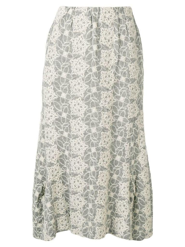 Comme Des Garçons Vintage 1999's embroidered midi skirt - Grey