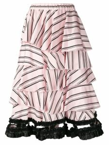 Comme Des Garçons Pre-Owned layered striped skirt - Pink