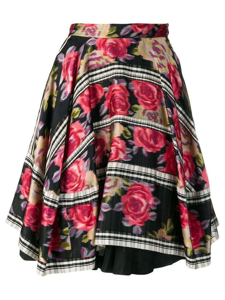 Comme Des Garçons Vintage 1989's layered floral skirt - Black