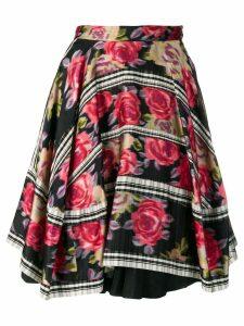 COMME DES GARÇONS PRE-OWNED 1989's layered floral skirt - Black