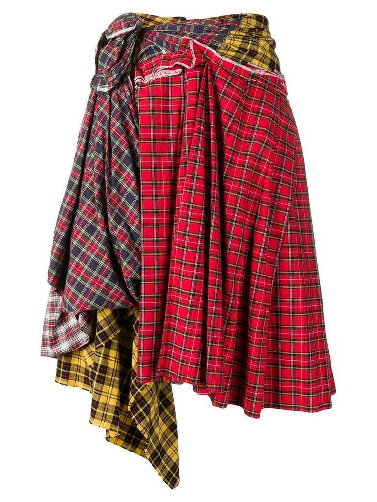 Comme Des Garçons Vintage deconstructed plaid skirt - Red