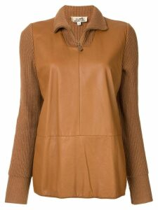 Hermès Pre-Owned panelled knitted top - Brown